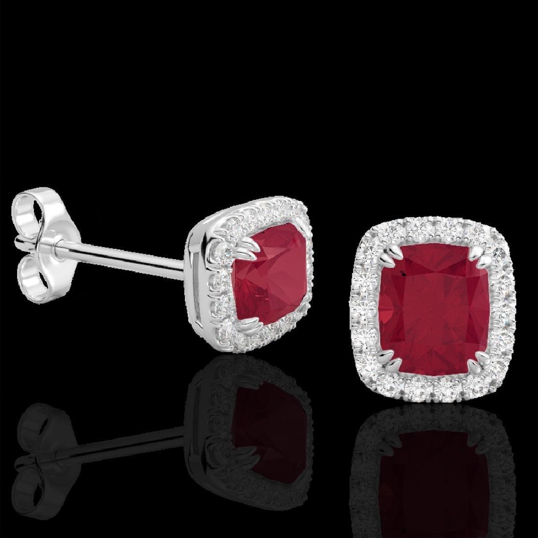 2.50 CTW Ruby & Micro Pave VS/SI Diamond Halo Earrings - 2