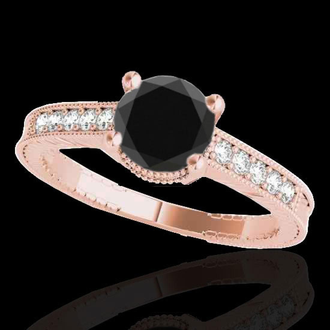 1.75 CTW Certified VS Black Diamond Solitaire Antique