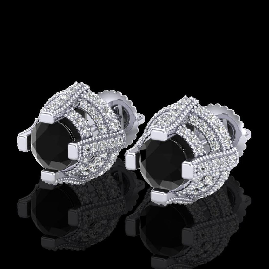 2.75 CTW Fancy Black Diamond Solitaire Micro Pave Stud