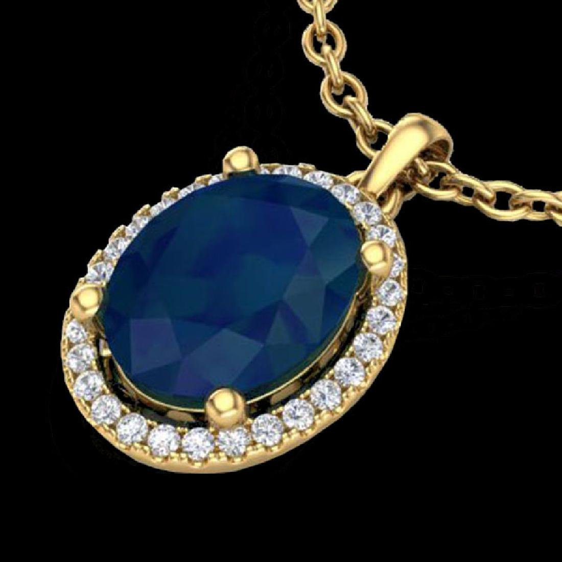 3 CTW Sapphire & Micro Pave VS/SI Diamond Necklace Halo