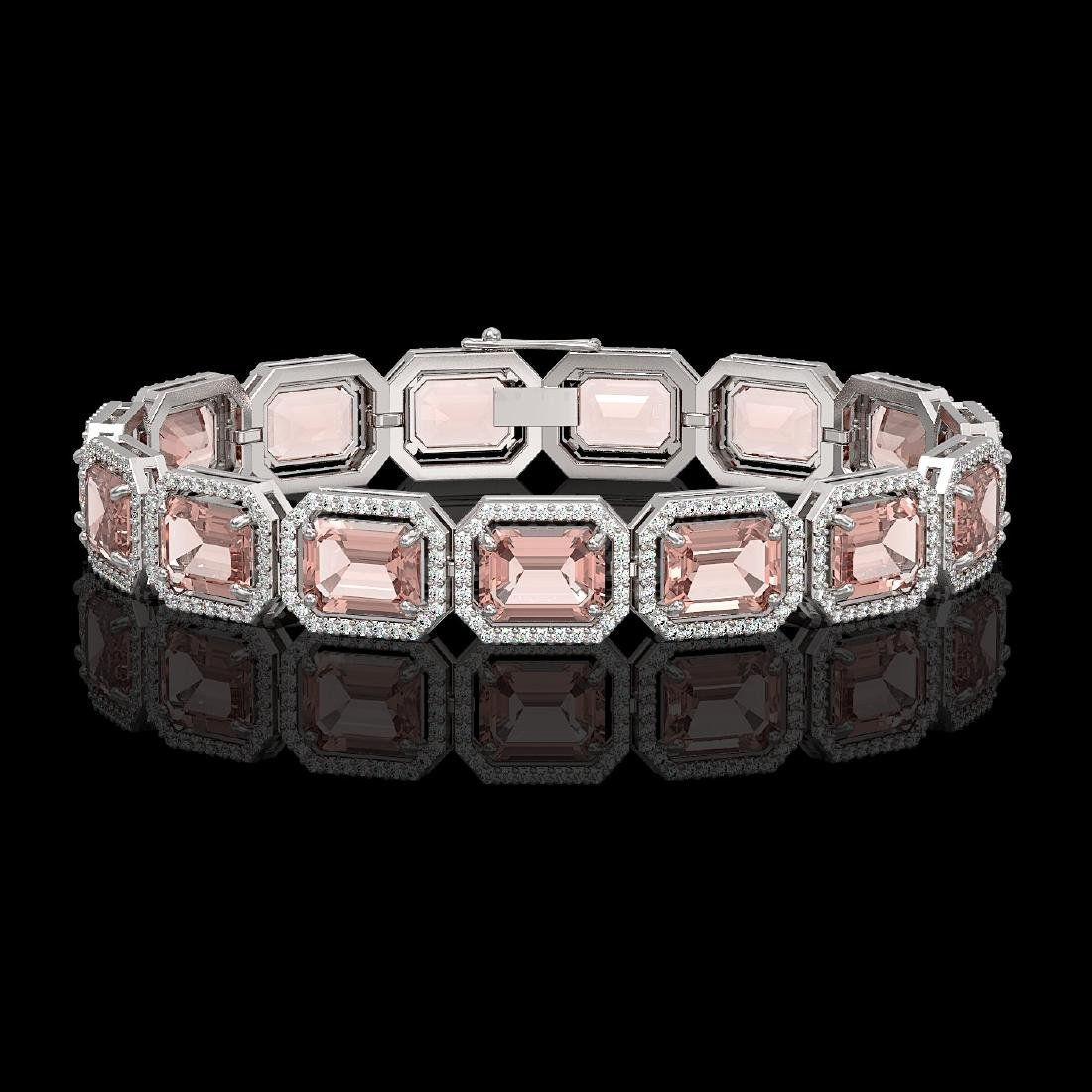 37.11 CTW Morganite & Diamond Halo Bracelet 10K White