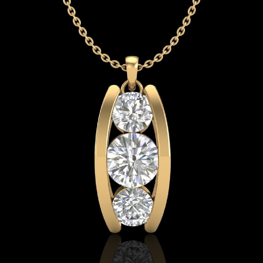 1.07 CTW VS/SI Diamond Art Deco Stud Necklace 18K