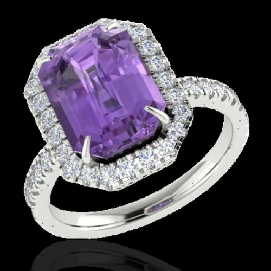 5.03 CTW Amethyst And Micro Pave VS/SI Diamond Halo