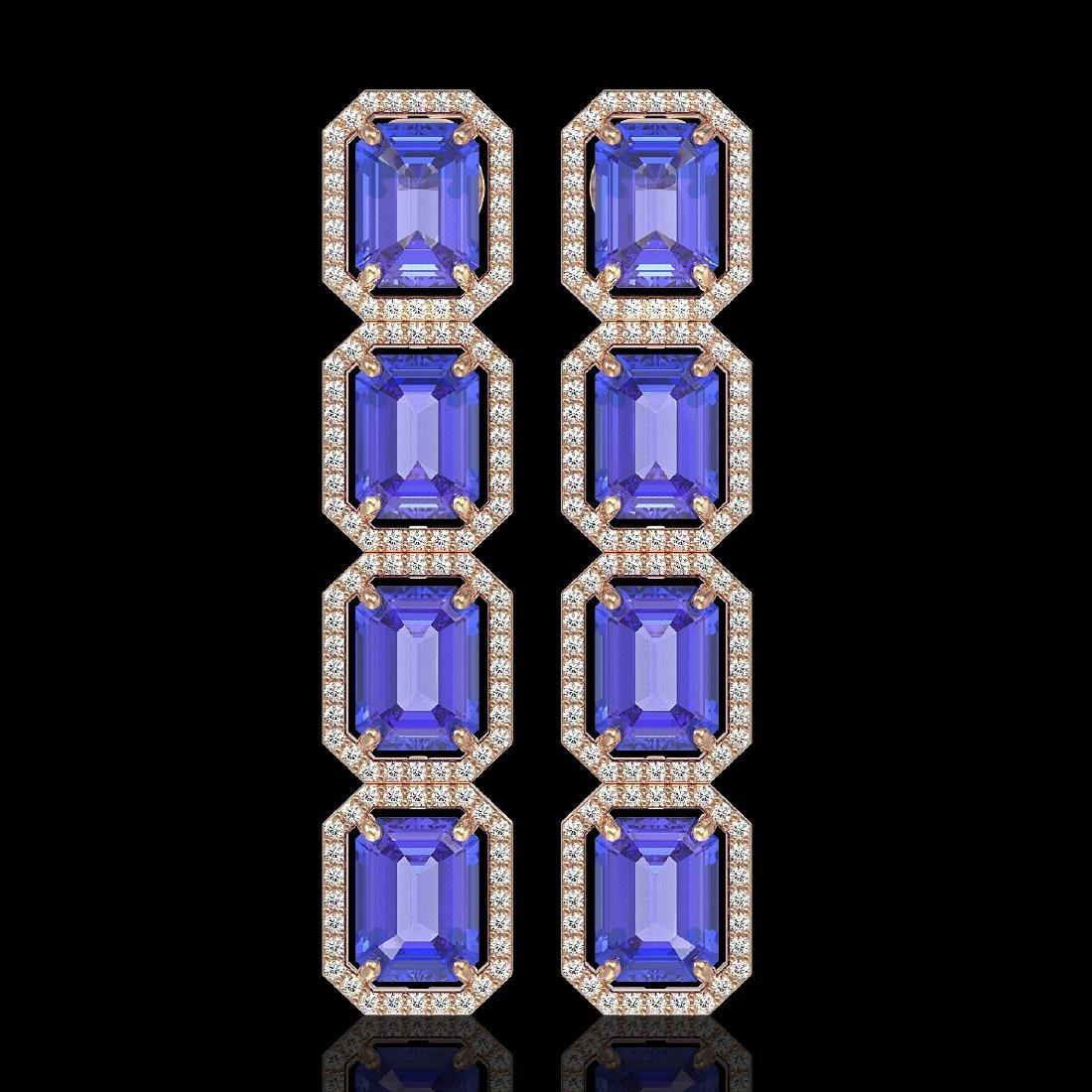 19.39 CTW Tanzanite & Diamond Halo Earrings 10K Rose