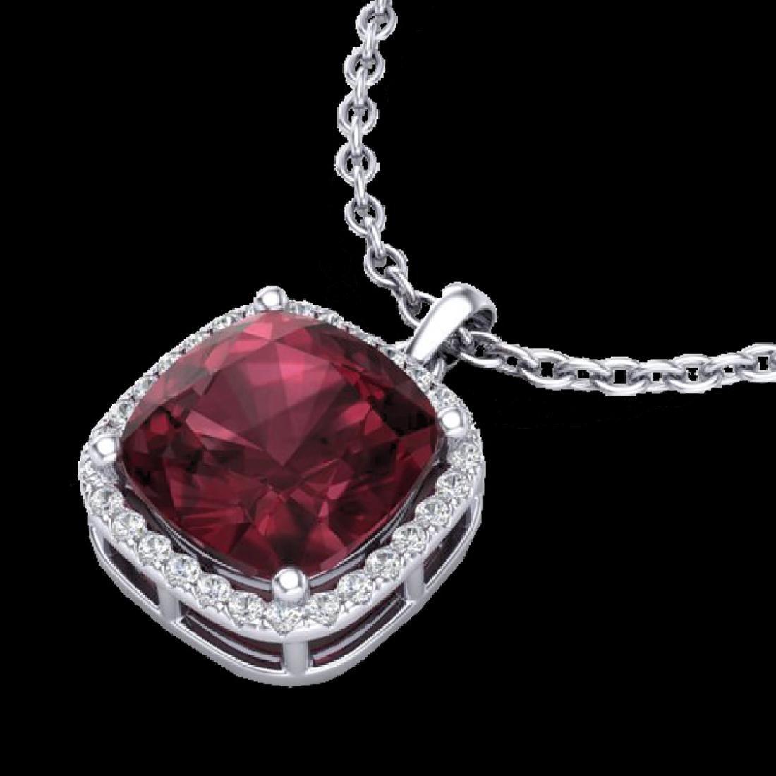 6 CTW Garnet & Micro Pave Halo VS/SI Diamond Necklace
