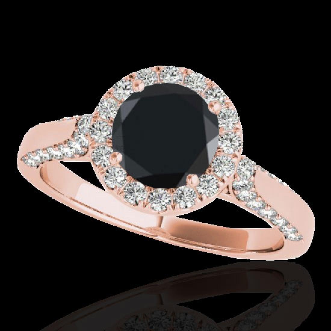 2.15 CTW Certified VS Black Diamond Solitaire Halo Ring