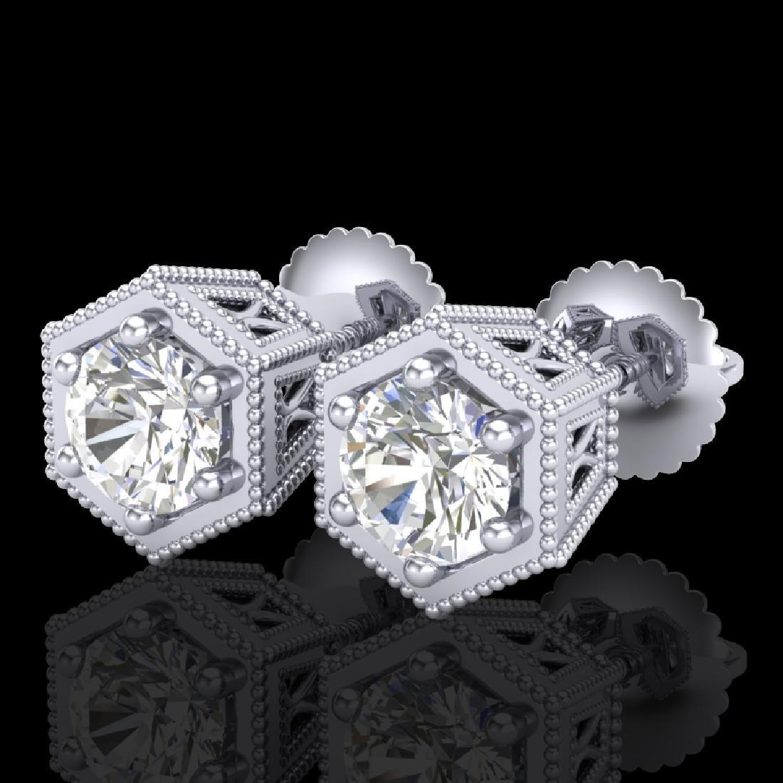 1.15 CTW VS/SI Diamond Solitaire Art Deco Stud Earrings