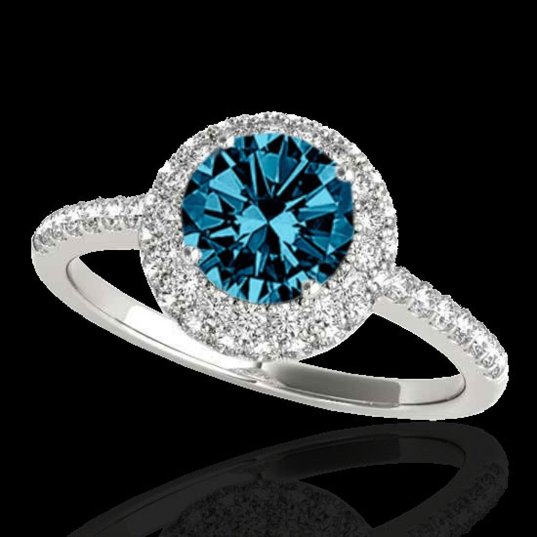 2.15 CTW SI Certified Fancy Blue Diamond Solitaire Halo