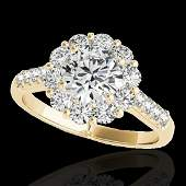 2 CTW HSII Certified Diamond Solitaire Halo Ring 10K