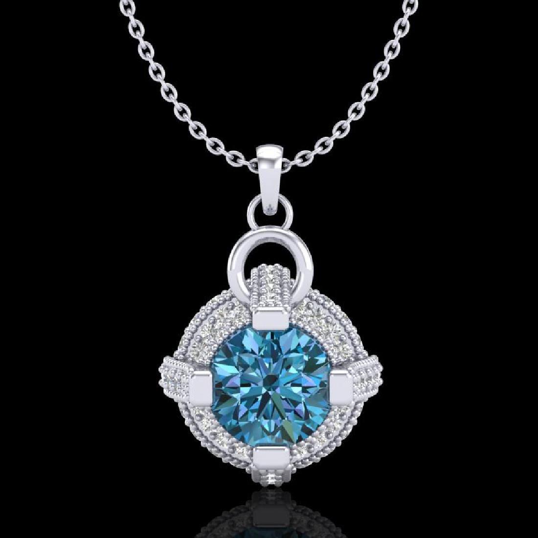 1.57 CTW Fancy Intense Blue Diamond Micro Pave Stud