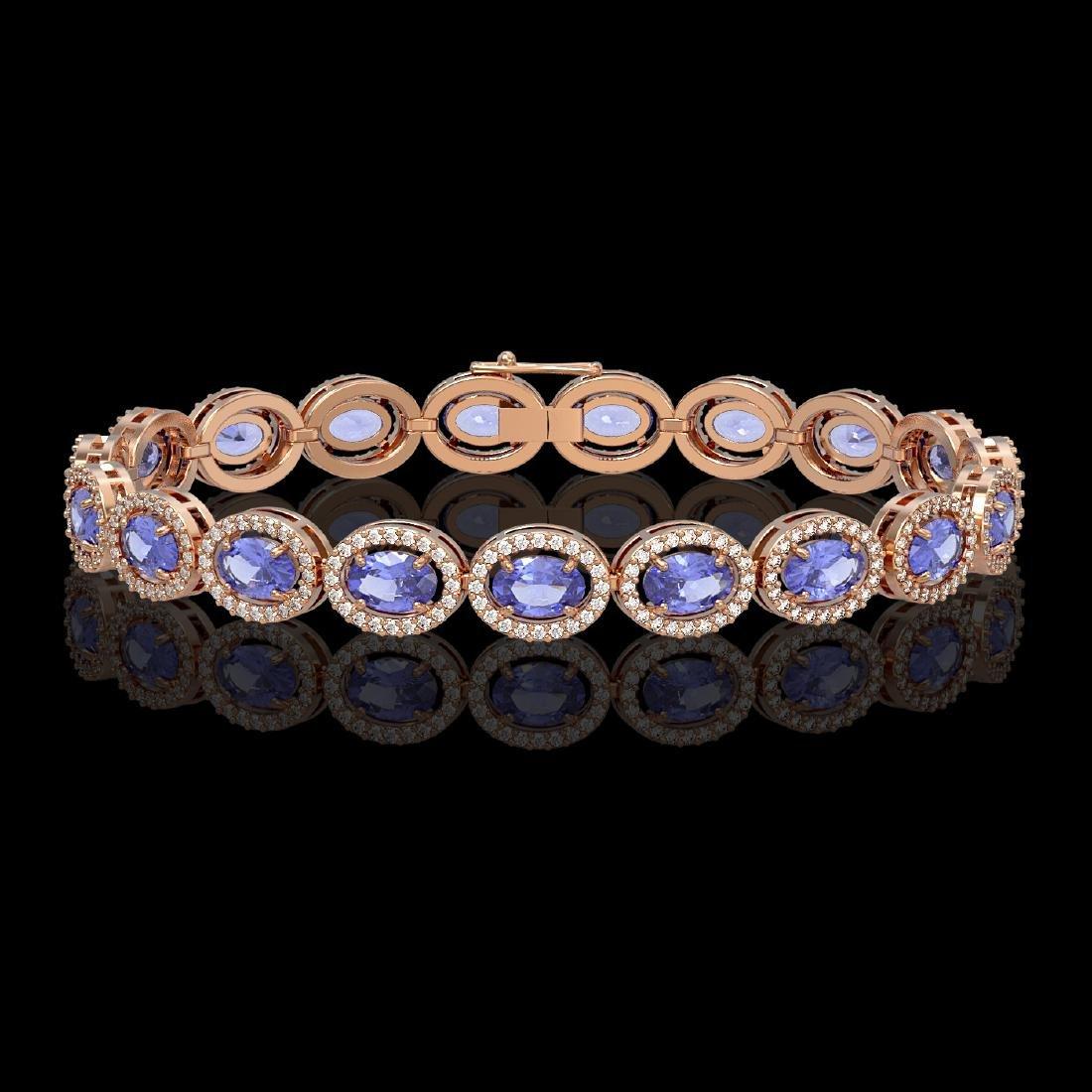 14.25 CTW Tanzanite & Diamond Halo Bracelet 10K Rose