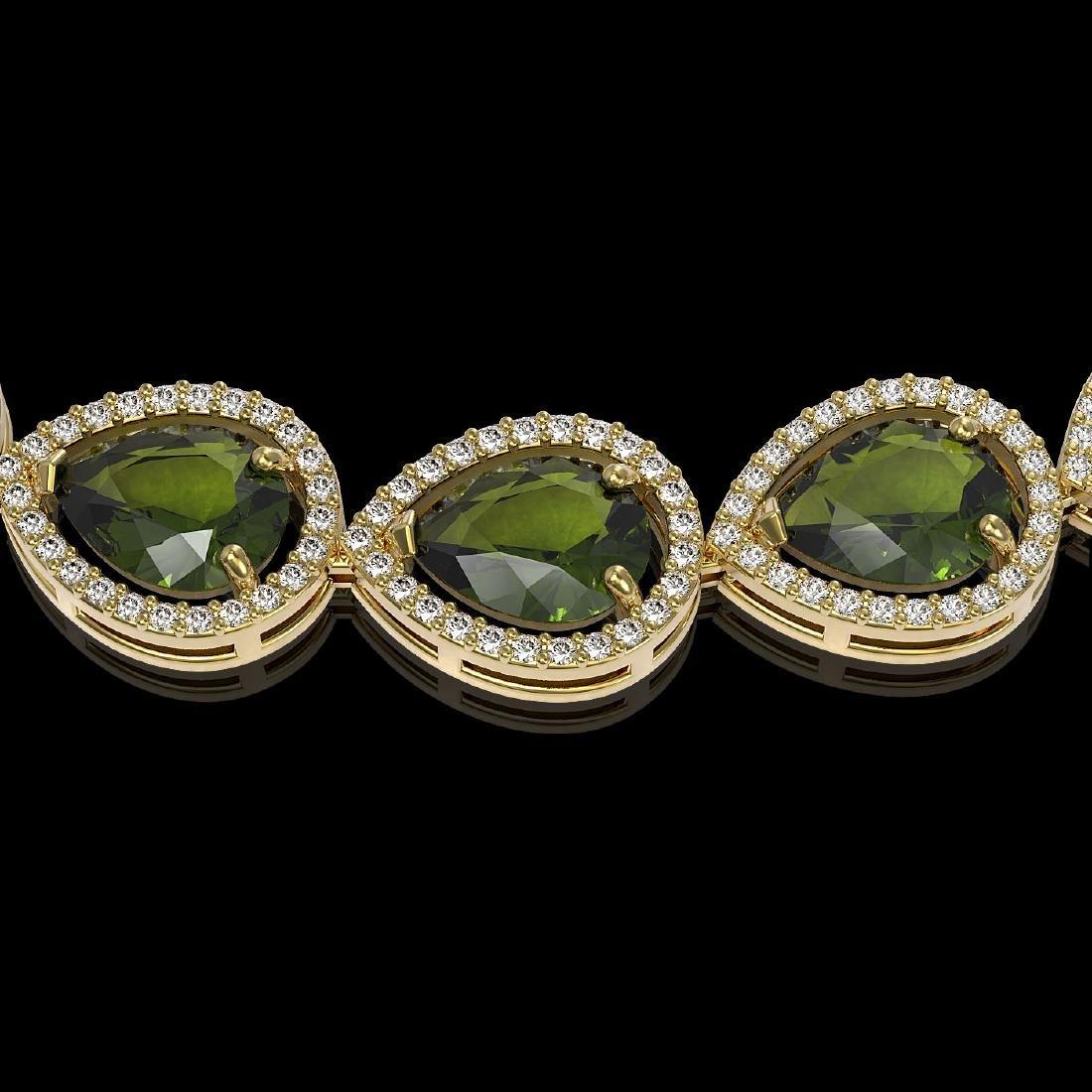 41.6 CTW Tourmaline & Diamond Halo Necklace 10K Yellow - 3