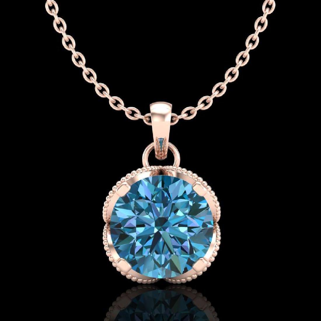 1.13 CTW Fancy Intense Blue Diamond Solitaire Art Deco