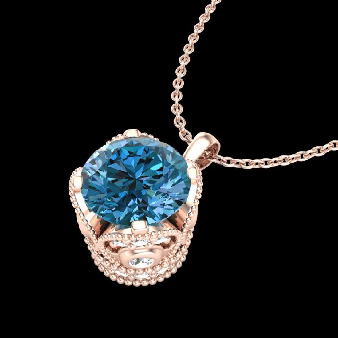 1.13 CTW Fancy Intense Blue Diamond Solitaire Art Deco - 2