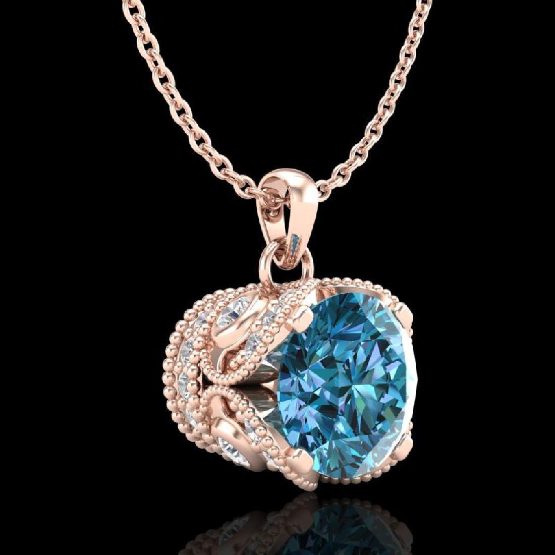 1.13 CTW Fancy Intense Blue Diamond Solitaire Art Deco - 3