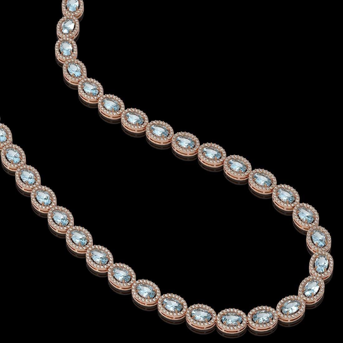 33.25 CTW Sky Topaz & Diamond Halo Necklace 10K Rose - 2