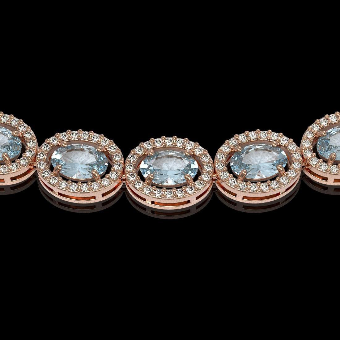 33.25 CTW Sky Topaz & Diamond Halo Necklace 10K Rose - 3