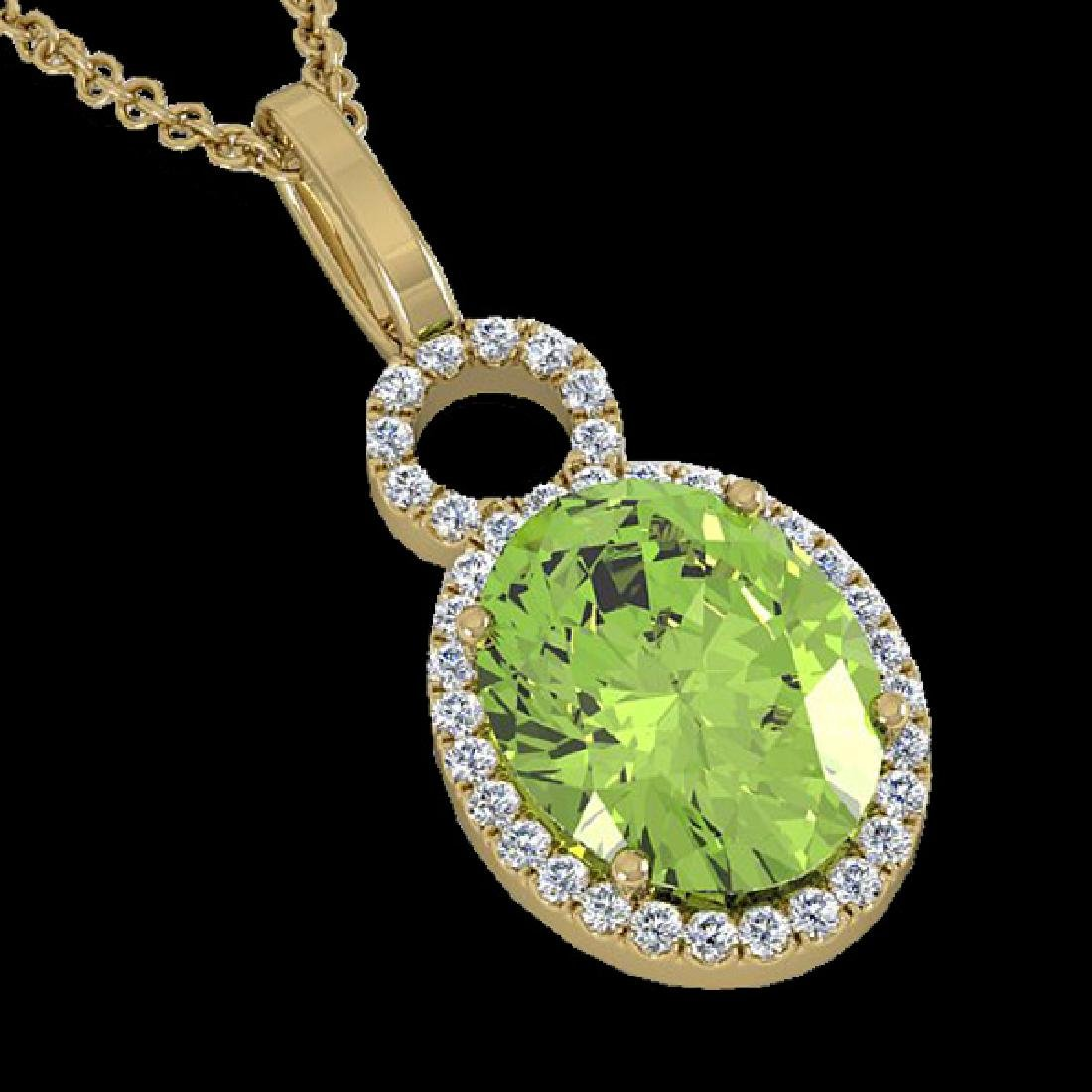 3 CTW Peridot & Micro Pave Solitaire Halo VS/SI Diamond