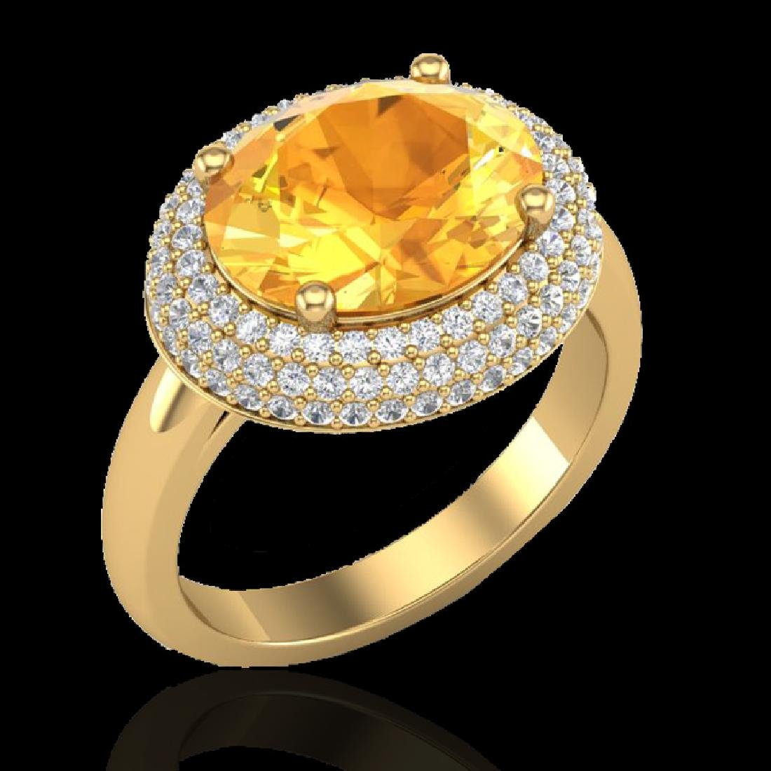 4 CTW Citrine & Micro Pave VS/SI Diamond Ring 18K