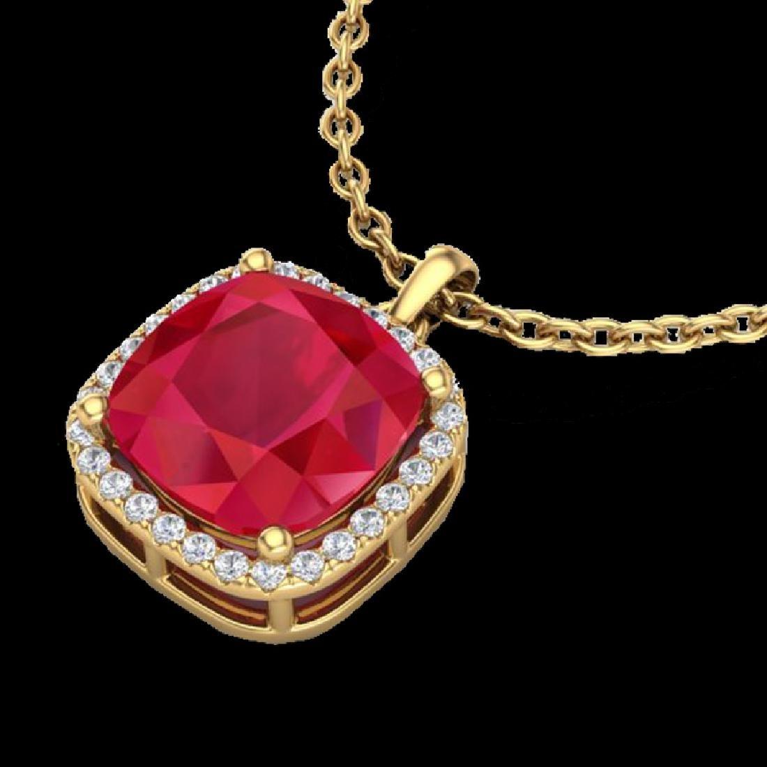 6 CTW Ruby & Micro Pave Halo VS/SI Diamond Necklace