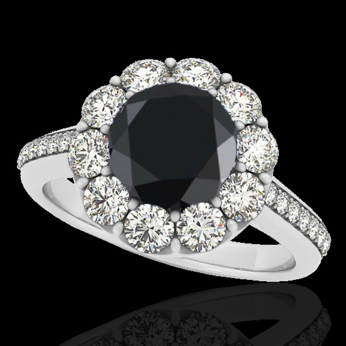 2.75 CTW Certified VS Black Diamond Solitaire Halo Ring