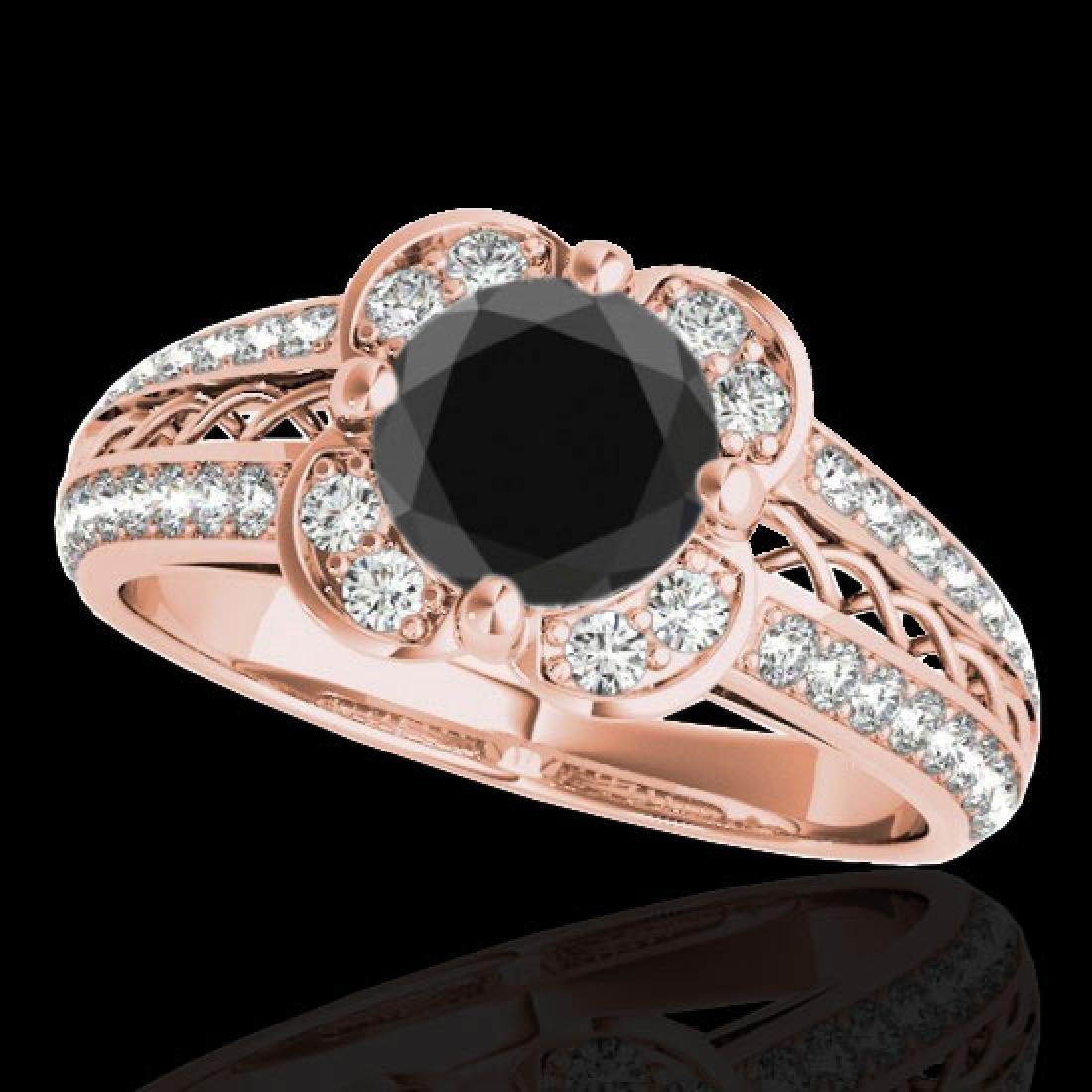 2.05 CTW Certified VS Black Diamond Solitaire Halo Ring
