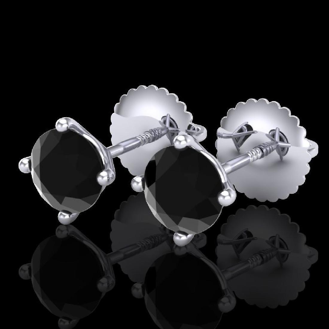 1.01 CTW Fancy Black Diamond Solitaire Art Deco Stud