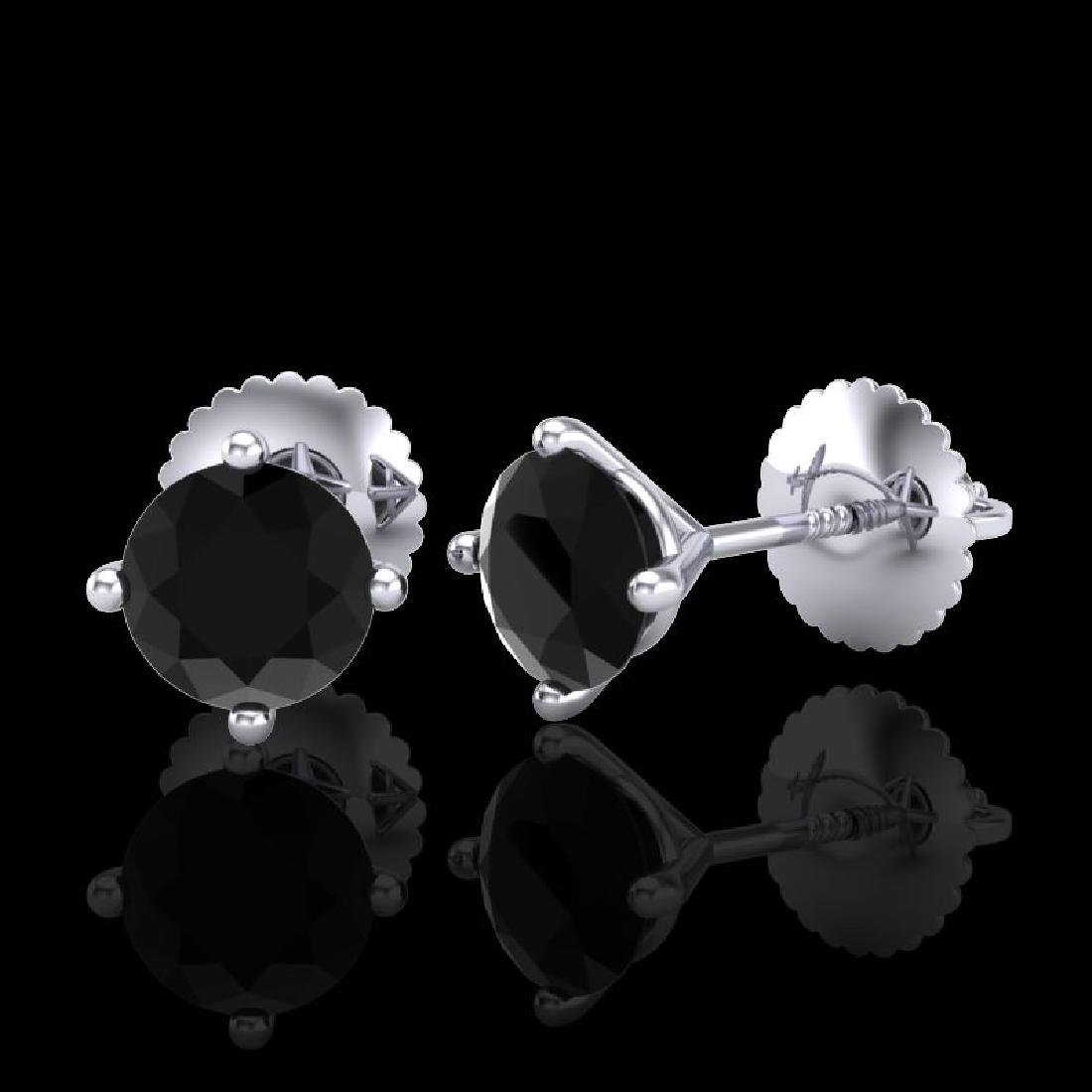 1.01 CTW Fancy Black Diamond Solitaire Art Deco Stud - 2