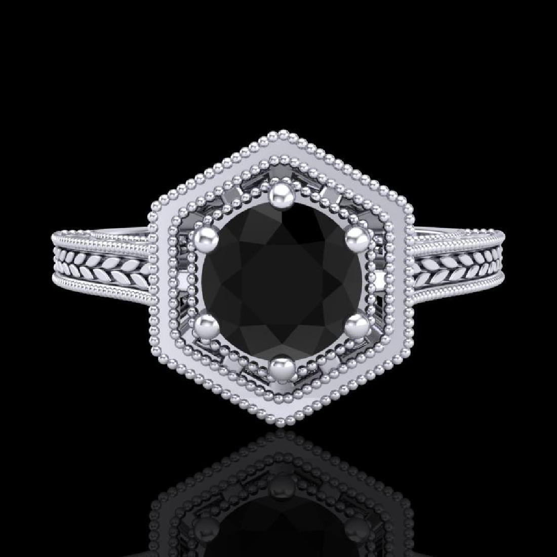 0.77 CTW Fancy Black Diamond Solitaire Engagement Art - 2