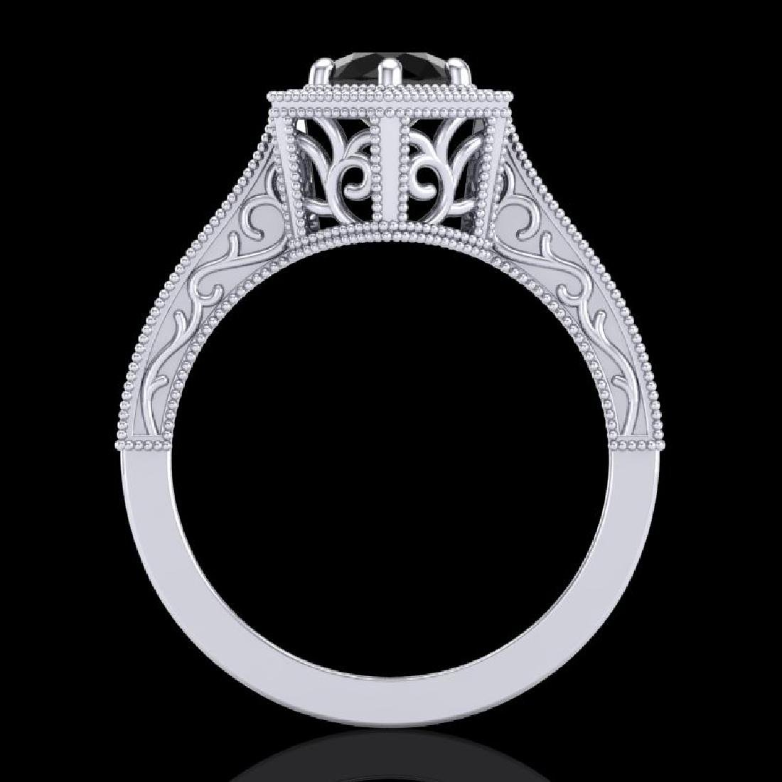 0.77 CTW Fancy Black Diamond Solitaire Engagement Art - 3