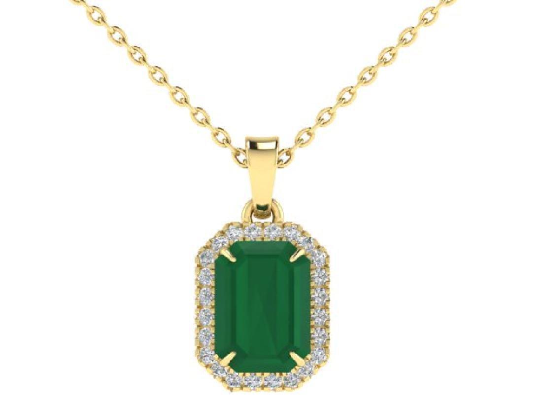 5.50 CTW Emerald & Micro Pave VS/SI Diamond Halo - 2