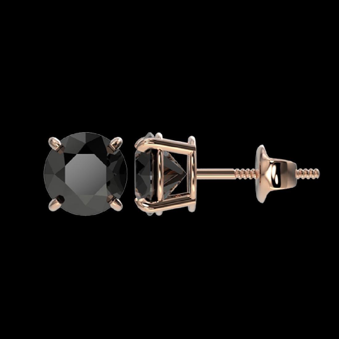 1.61 CTW Fancy Black VS Diamond Solitaire Stud Earrings - 2