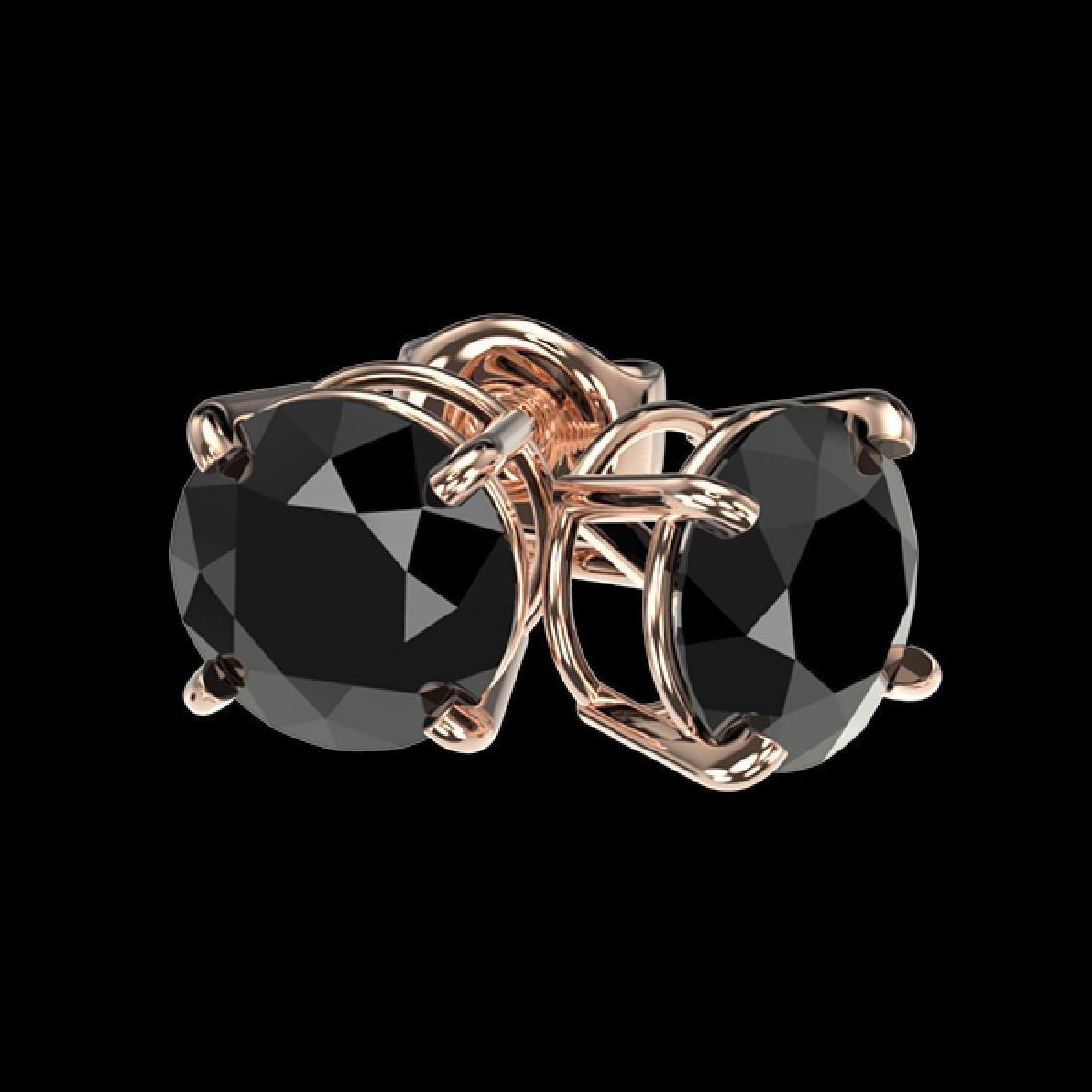 1.61 CTW Fancy Black VS Diamond Solitaire Stud Earrings - 3