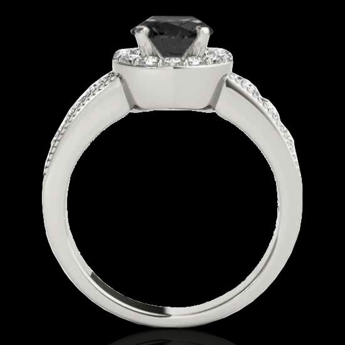 1.85 CTW Certified VS Black Diamond Solitaire Halo Ring - 2