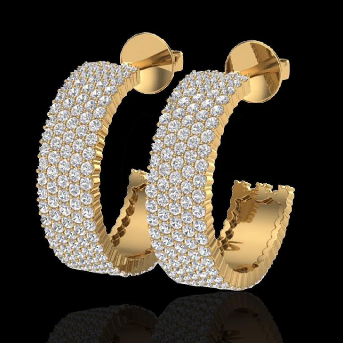 4.50 CTW Micro Pave VS/SI Diamond Earrings 14K Yellow