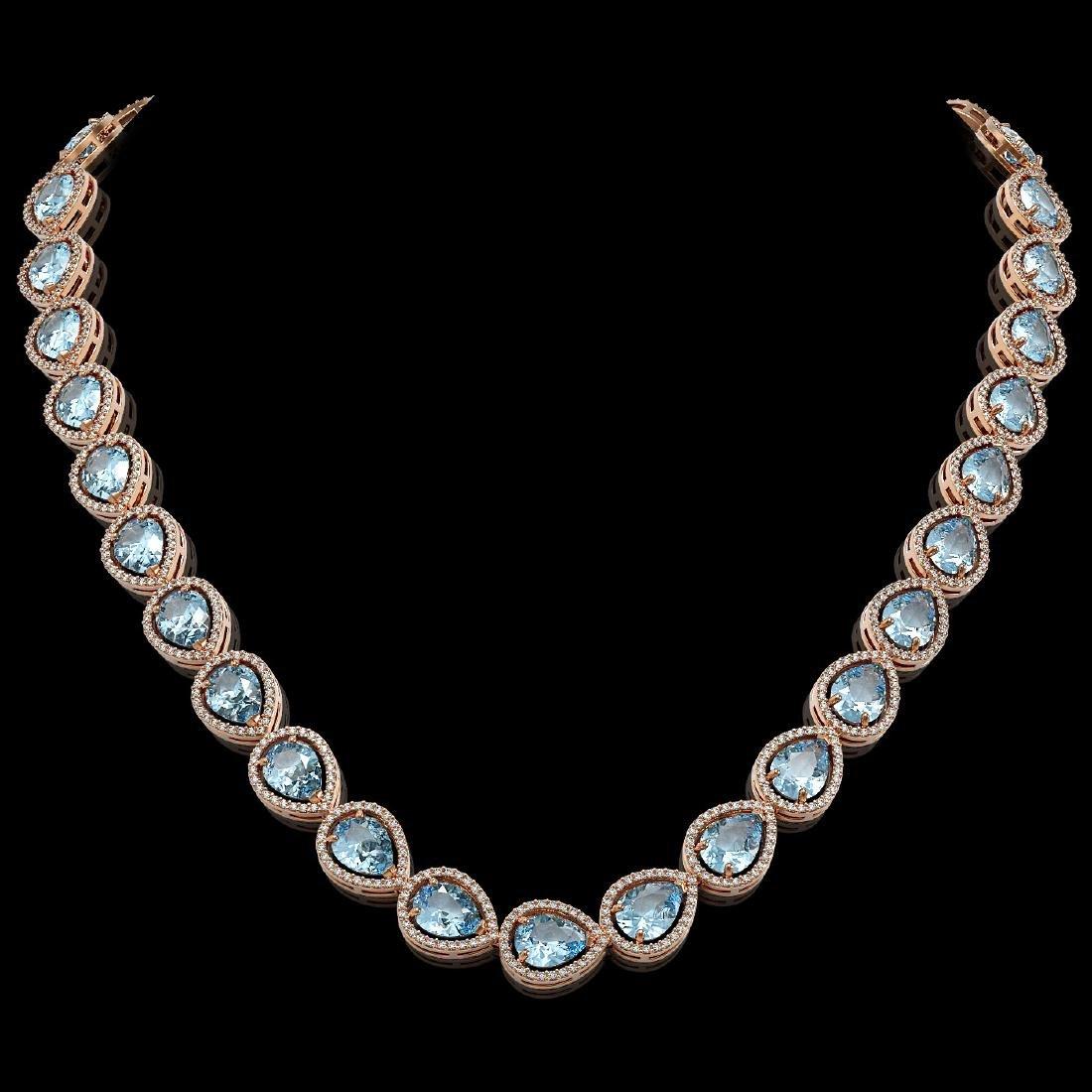 41.6 CTW Aquamarine & Diamond Halo Necklace 10K Rose