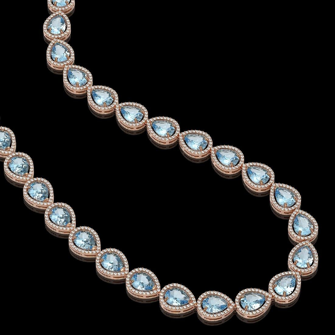 41.6 CTW Aquamarine & Diamond Halo Necklace 10K Rose - 2