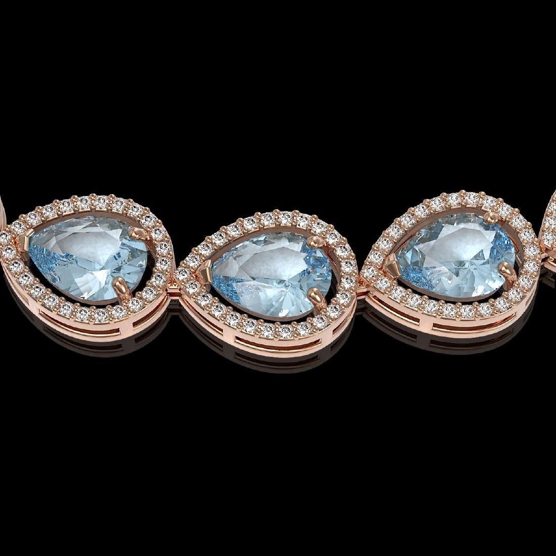 41.6 CTW Aquamarine & Diamond Halo Necklace 10K Rose - 3