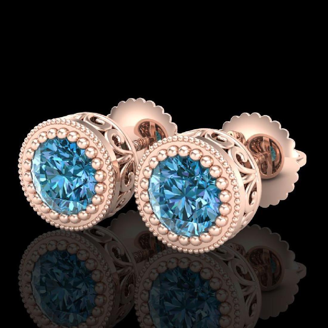 1.09 CTW Fancy Intense Blue Diamond Art Deco Stud