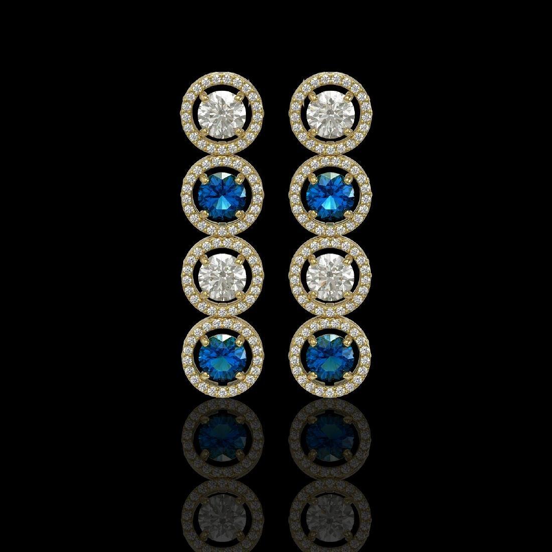 5.42 CTW Blue & White Diamond Designer Earrings 18K