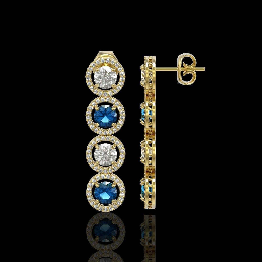5.42 CTW Blue & White Diamond Designer Earrings 18K - 2