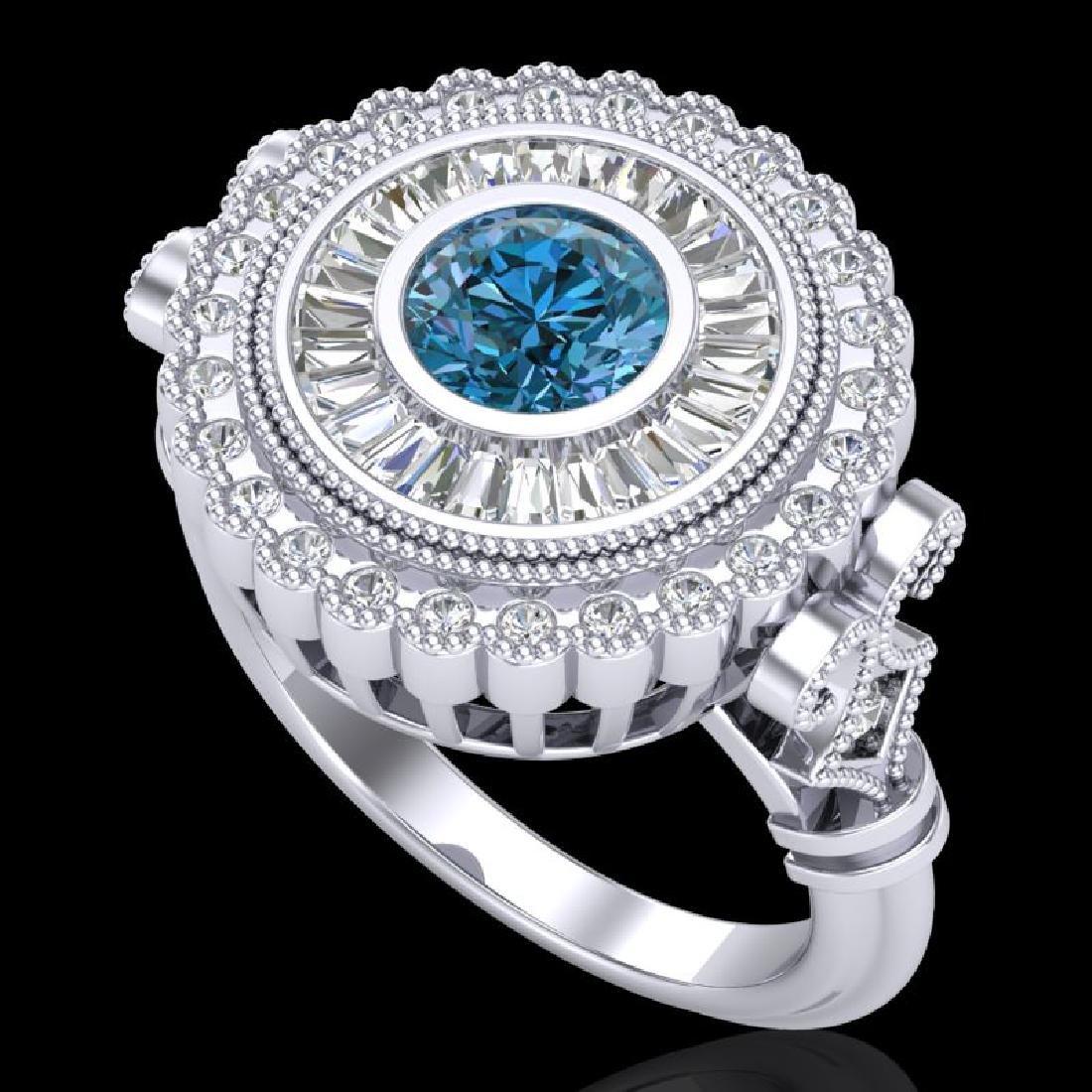 2.03 CTW Fancy Intense Blue Diamond Solitaire Art Deco