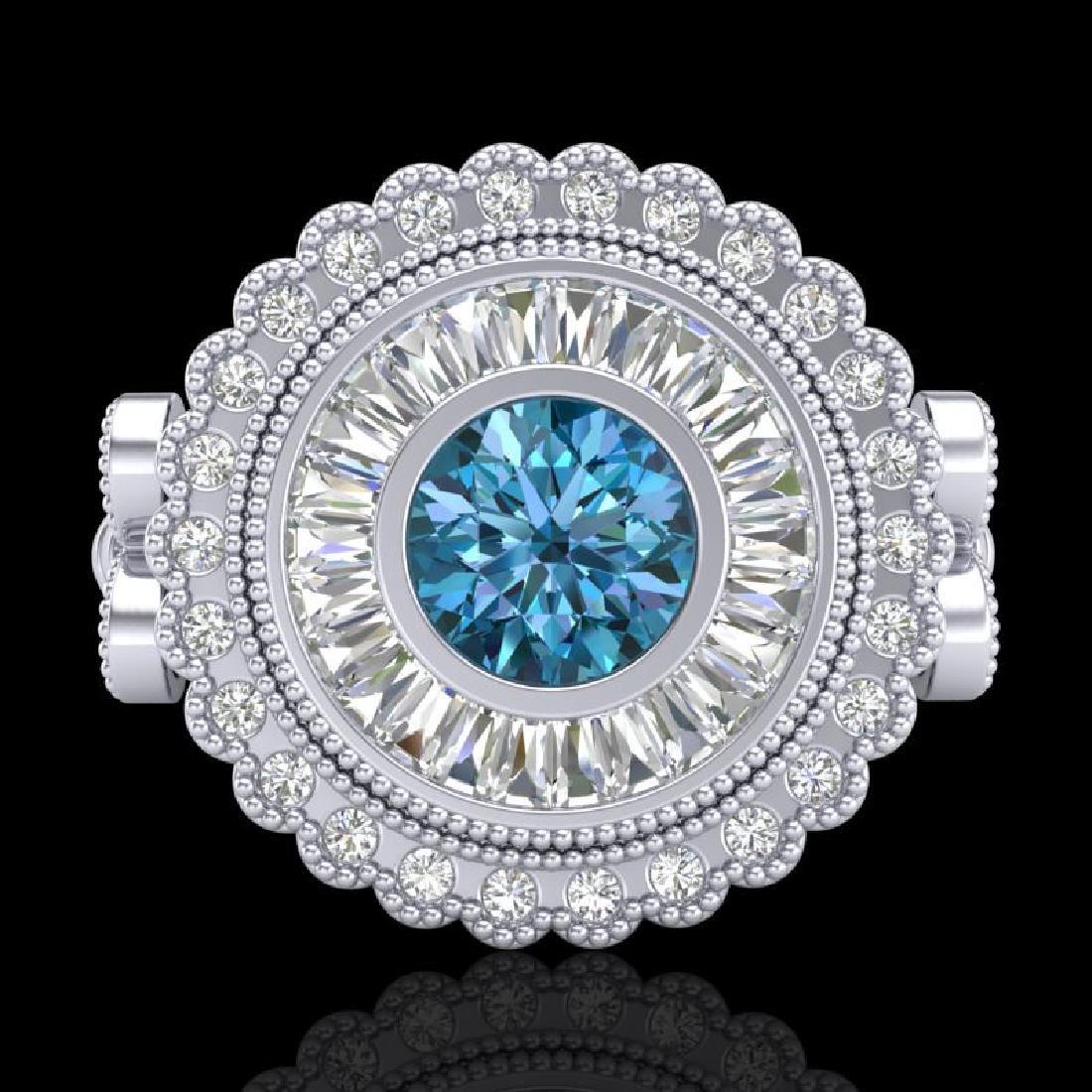 2.03 CTW Fancy Intense Blue Diamond Solitaire Art Deco - 2