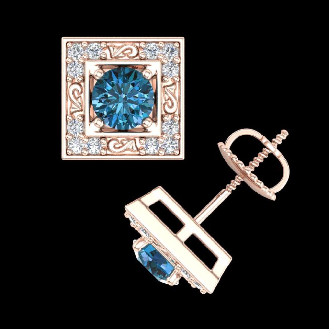 1.63 CTW Fancy Intense Blue Diamond Art Deco Stud - 2