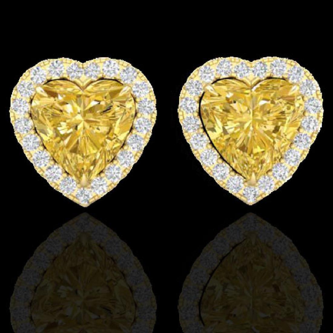 2 CTW Citrine & Micro Pave VS/SI Diamond Earrings Heart