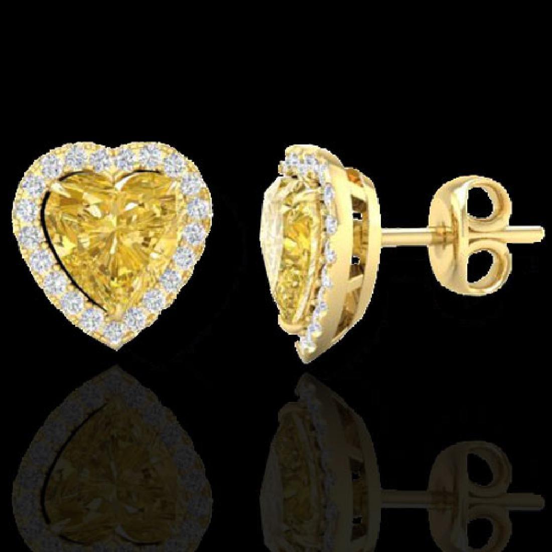 2 CTW Citrine & Micro Pave VS/SI Diamond Earrings Heart - 2