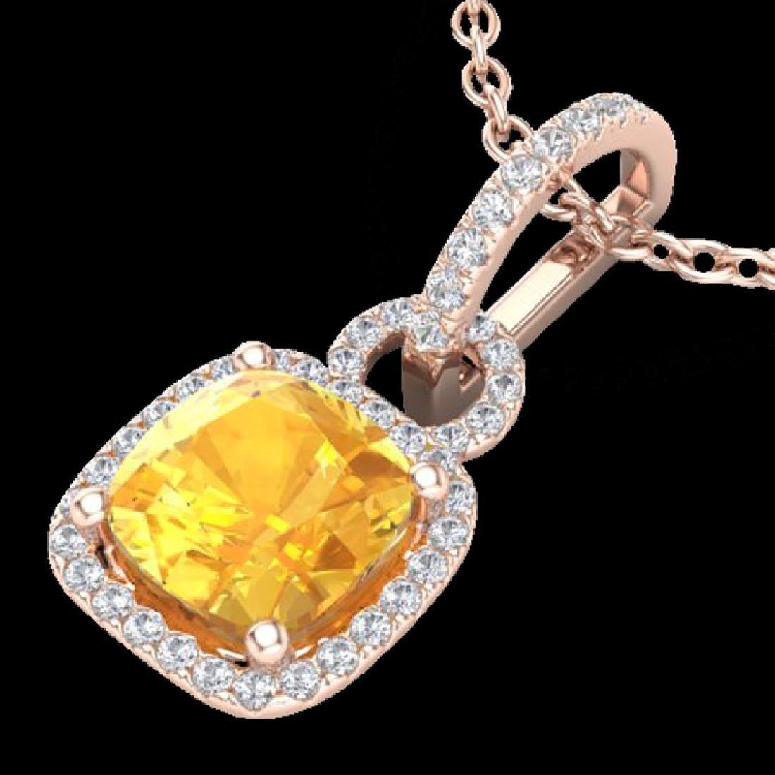 3.50 CTW Citrine & Micro VS/SI Diamond Necklace 14K