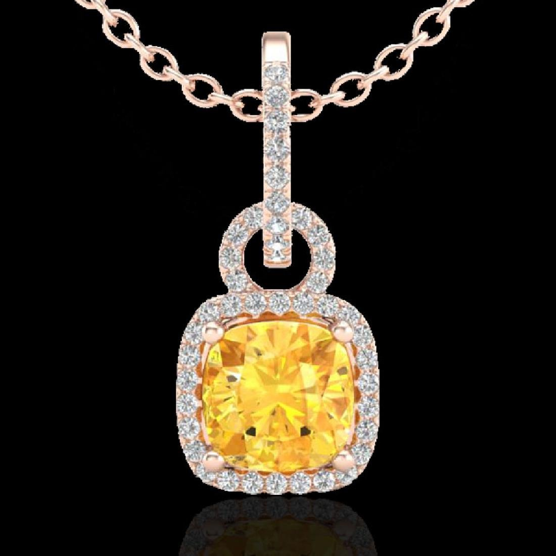 3.50 CTW Citrine & Micro VS/SI Diamond Necklace 14K - 2