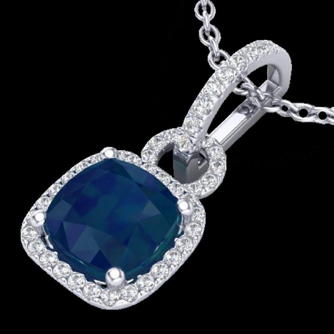 3 CTW Sapphire & Micro VS/SI Diamond Necklace 18K White