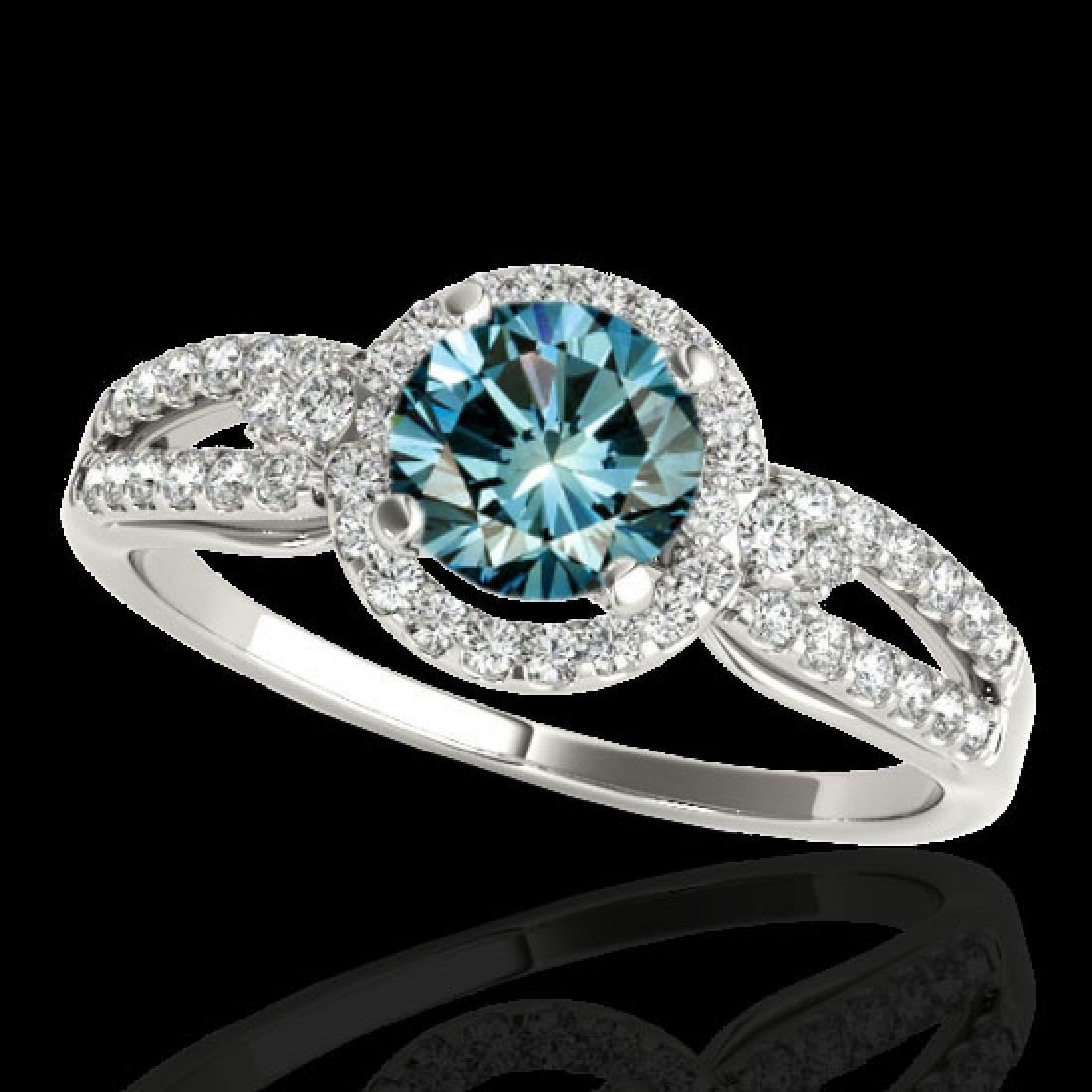 1.25 CTW SI Certified Fancy Blue Diamond Solitaire Halo
